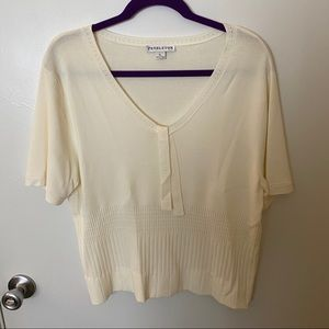 Pendleton Cream Short Sleeve Knit Sweater Blouse